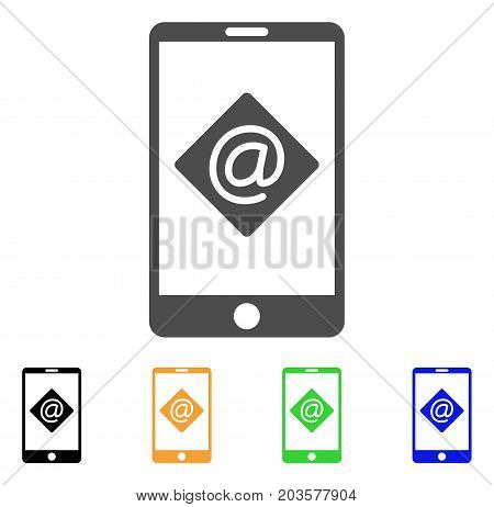 Mobile Email icon. Vector illustration style is a flat iconic mobile email symbol with black, gray, green, blue, yellow color versions. Designed for web and software interfaces.