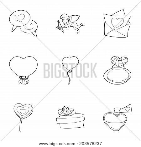 Valentine day things icons set. Outline set of 9 valentine day things vector icons for web isolated on white background