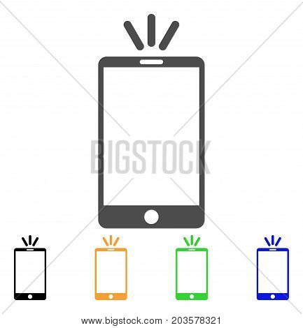 Mobile Torch icon. Vector illustration style is a flat iconic mobile torch symbol with black, grey, green, blue, yellow color variants. Designed for web and software interfaces.