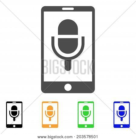 Phone Microphone icon. Vector illustration style is a flat iconic phone microphone symbol with black, grey, green, blue, yellow color variants. Designed for web and software interfaces.