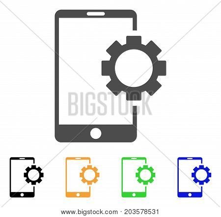 Phone Setup Gear icon. Vector illustration style is a flat iconic phone setup gear symbol with black, grey, green, blue, yellow color variants. Designed for web and software interfaces.