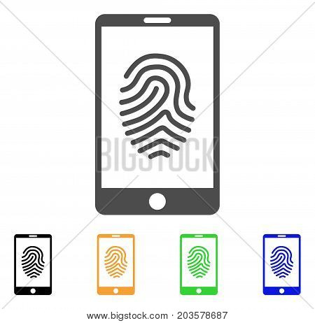 Smartphone Fingerprint icon. Vector illustration style is a flat iconic smartphone fingerprint symbol with black, gray, green, blue, yellow color variants. Designed for web and software interfaces.