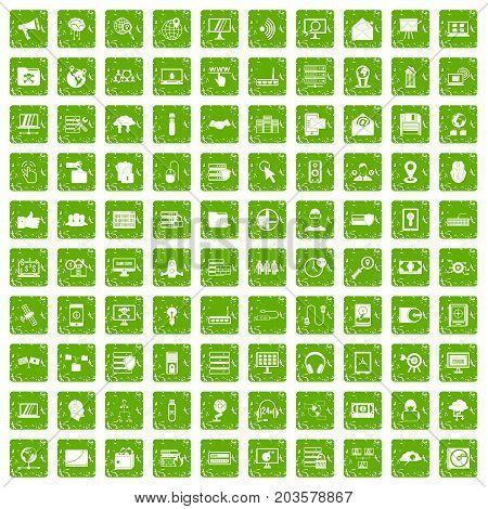 100 cyber security icons set in grunge style green color isolated on white background vector illustration