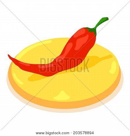 Pepper chilli icon. Isometric illustration of pepper chilli vector icon for web