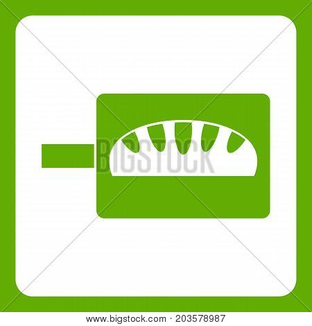 Bread baking icon white isolated on green background. Vector illustration