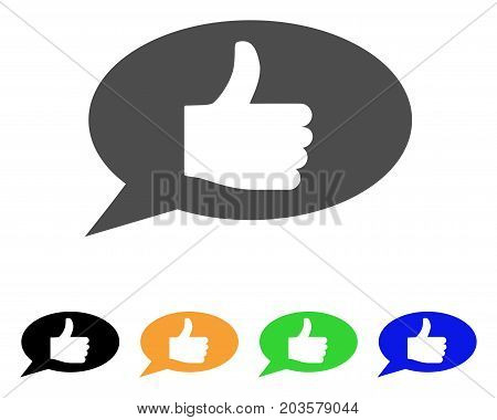 Thumb Up Message icon. Vector illustration style is a flat iconic thumb up message symbol with black, gray, green, blue, yellow color variants. Designed for web and software interfaces.