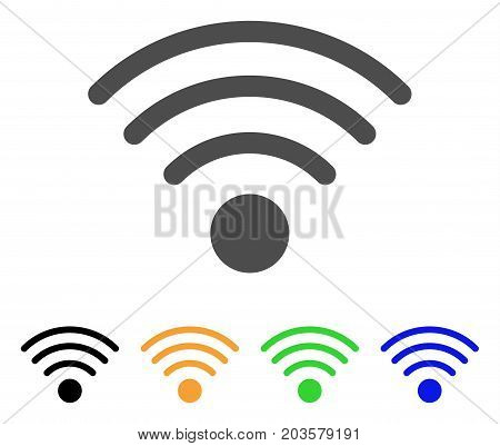 Wi-Fi Source icon. Vector illustration style is a flat iconic wi-fi source symbol with black, grey, green, blue, yellow color variants. Designed for web and software interfaces.