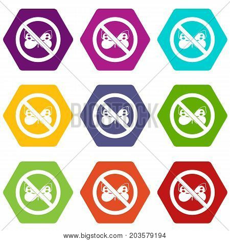 No butterfly sign icon set many color hexahedron isolated on white vector illustration