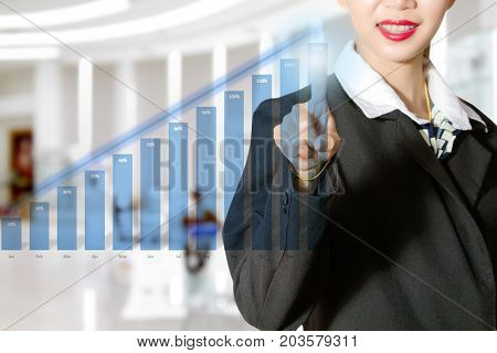 Asia Businesswomen Pointing At Blue Bar Chart For Business Growth Concept
