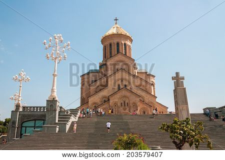 TBILISI GEORGIA - August 26 2017: The Holy Trinity Cathedral of Tbilisi .Sameba. Largest cathedral in Caucasus region