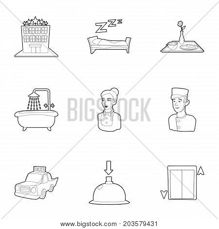 Inn icons set. Outline set of 9 inn vector icons for web isolated on white background