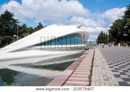 BATUMI GEORGIA - September 1 2017: Batumi Wedding Palace in form of dolphin. Batumi is a very popular destination on Black Sea