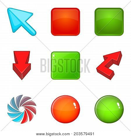 Color buttons icons set. Cartoon set of 9 color buttons vector icons for web isolated on white background