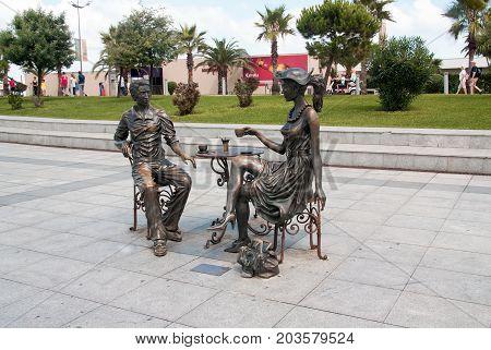 BATUMI GEORGIA - September 1 2017: 'Me You and Batumi' sculpture on Batumi boulevard