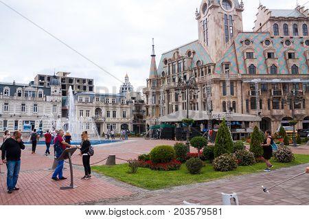 BATUMI GEORGIA - September 1 2017: People in the Batumi center. Batumi is a very popular destination on Black Sea