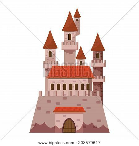 Fairytale castle icon. Cartoon illustration of castle vector icon for web isolated on white background