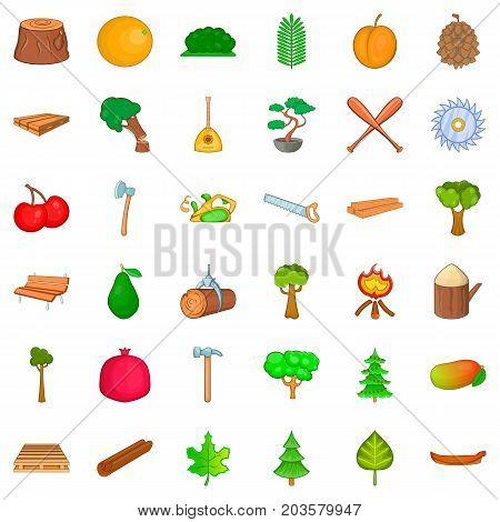 Foliage icons set. Cartoon style of 36 foliage vector icons for web isolated on white background