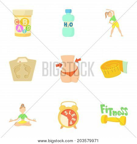 Active lifestyle icons set. Cartoon set of 9 active lifestyle vector icons for web isolated on white background