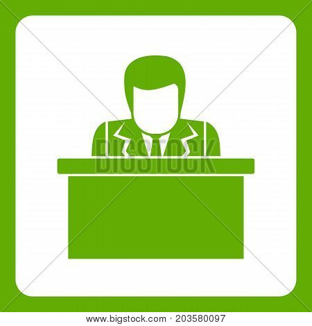 Orator speaking from tribune icon white isolated on green background. Vector illustration