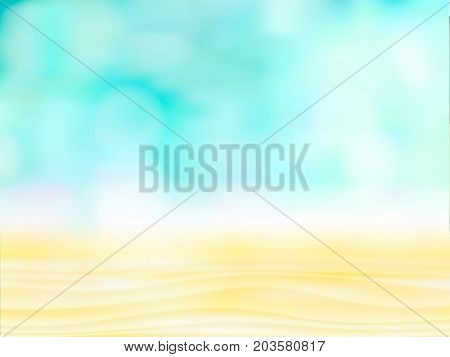 Close up abstract sand with blurred sea sky background, summer day, copy space or for product. abstract light on blue water or ocean, beach background. Empty defocused blue bokeh vector illustration.
