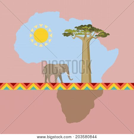 African Nature scene with continent. Abstract map element like landscape. Elephant and baobab, stylized sun and tribal ornament. Africa theme flat vector illustration.