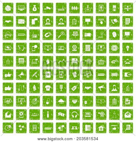 100 data exchange icons set in grunge style green color isolated on white background vector illustration