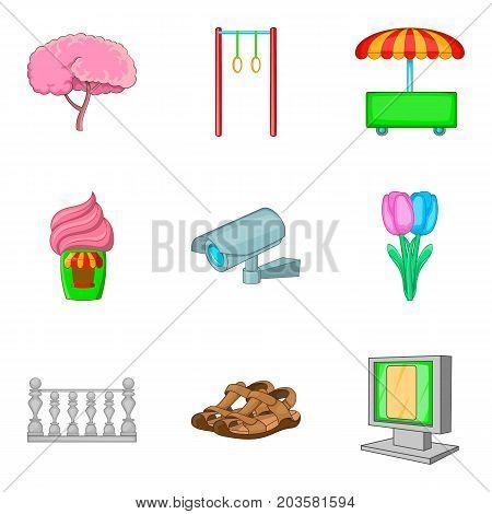 City park activities icon set. Cartoon set of 9 city park activities vector icons for web design isolated on white background