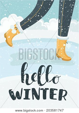 Vector cartoon illustration of Hello winter lettering text and legs in boots walking in the park. Seasonal concept design for the banner or label or card. Hello Winter