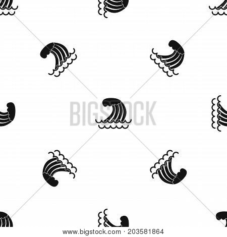 Tsunami wave pattern repeat seamless in black color for any design. Vector geometric illustration