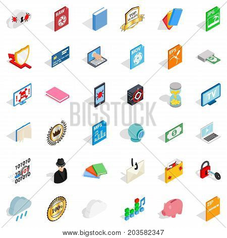 Copy icons set. Isometric style of 36 copy vector icons for web isolated on white background