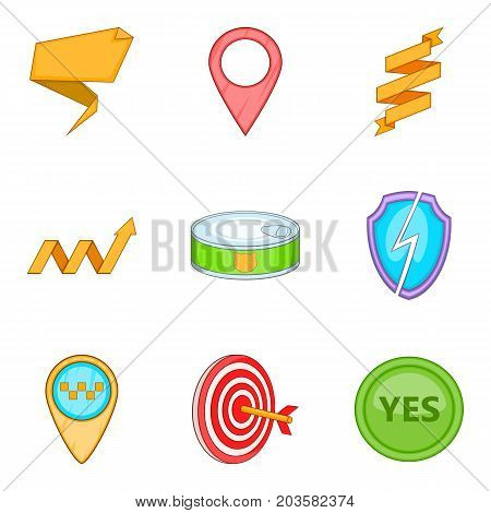 Arm icons set. Cartoon set of 9 arm vector icons for web isolated on white background
