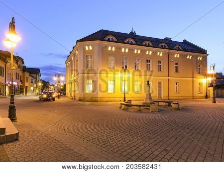 Street in Zory after sunset. Poland Europe.