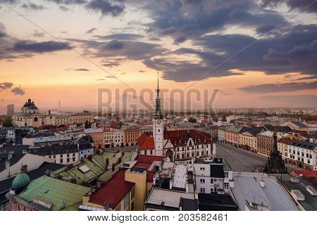 Panorama of the central part of Olomouc city Czech Republic. Europe. in the evening.