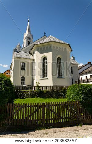 White Evangelic Church In Schladming City Center, Austria