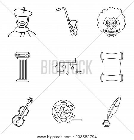 Talent icons set. Outline set of 9 talent vector icons for web isolated on white background