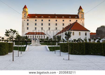 BRATISLAVA, SLOVAKIA - AUGUST12, 2017: Reconstructed historical baroque garden in Bratislava castle complex, Slovakia on August 12, 2017.