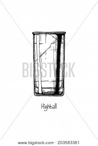 Illustration Of Tumbler Glass. Highball.