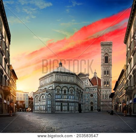 Sunrise and cathedral Santa Maria del Fiore in Florence, Italy