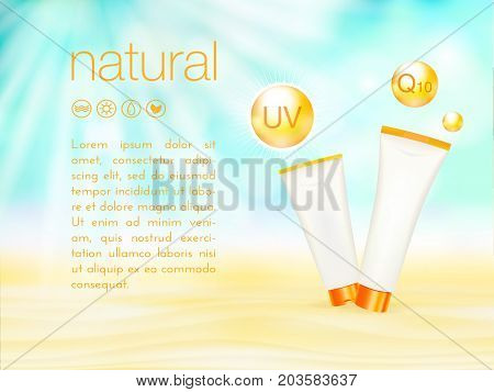 UV protection. Sunblock ads template, sunscreen and sunbath cosmetic products design. 3d vector illustration. Sunny beach background. moisturizer cream package