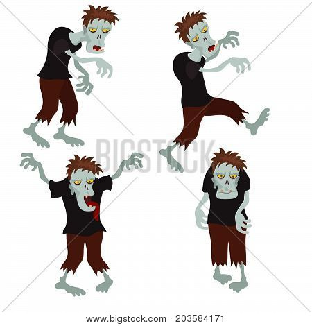 Collection of cartoon zombies on a white background. Happy Halloween.