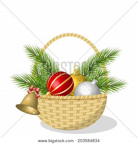 Wicker basket with colorful Christmas balls, bell and pine branches, isolated on white background, vector illustration