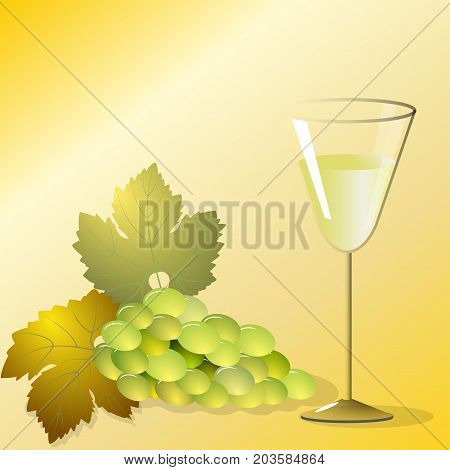 Branch of white grapes with leaves and a glass of wine on a gold background, vector illustration
