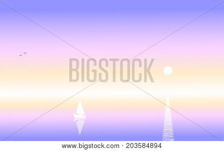 Abstract lilac seascape, white yacht against the background of a color sunset sky, birds on the horizon and moon track, vector illustration