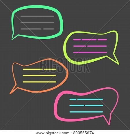 Funny colorful cartoon speech bubble. Cute outline fish bubbles for your text