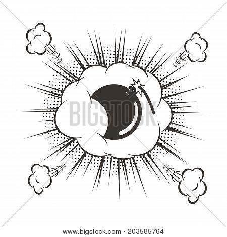 Vector black cartoon bomb explosion. Comic book element.