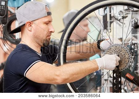 Repair technician bicycles was repaired gear bike shop. Repairer works in bike workshop.