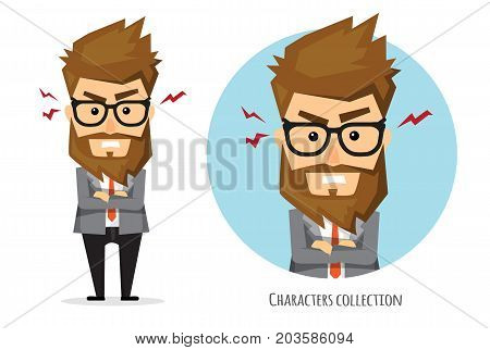Illustration of an angry businessman. Businessman in rage shouting, bad boss, anger emotion, facial expression, emoticon. Flat style vector illustration