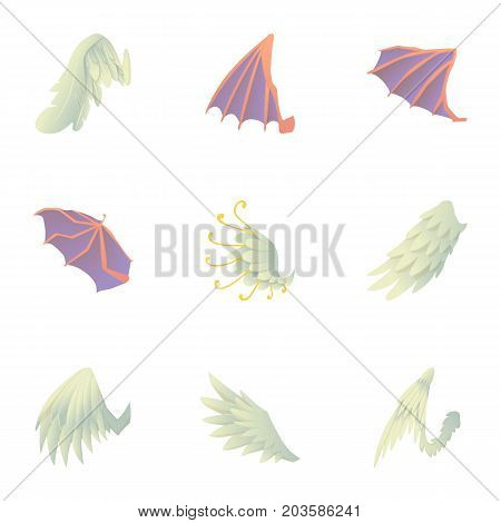 Wings of dragon and griffin icons set. Cartoon set of 9 wings of dragon and griffin vector icons for web isolated on white background