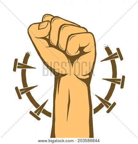 Rebel protest revolution poster. Human clenched fist isolated over white. Vector illustration