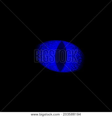 Glowing blue eye of animal on black background. Frozen blue eye with vertical pupil. Bright blue eye on black background. Dead dragon eye from Game of Thrones. Spooky creepy magic creature in darkness